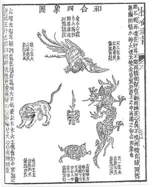 Die Vereinigung der 4 Tiere -Quelle: Martina Darga, Das alchemistische Buch